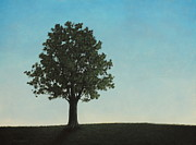 Serene Landscape Painting Originals - A Tree On A Hill by Dan Lockaby