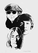 Ink Drawing Drawings Posters - A Tribute to Lennon Poster by Suzanne Schaefer