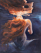 Red Hair Painting Posters - A trick of the light - love is illusion Poster by Marco Busoni