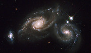 Merge Posters - A Triplet Of Galaxies Known As Arp 274 Poster by Stocktrek Images