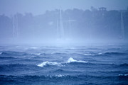 Mast Adventure Prints - A Tropical Storm Engulfs Ocean Yachts Print by Jason Edwards