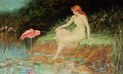 Flamingo Paintings - A Trusting Moment by Frederick Stuart Church
