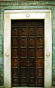 Carved Tile Posters - A Tunisian Door Poster by Deborah Mantle