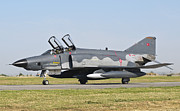 Airfield Prints - A Turkish Air Force Rf-4e Taxiing Print by Giovanni Colla