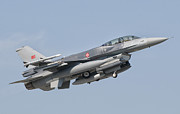 Flying Turkey Prints - A Turkish-built F-16 In Flight Print by Giovanni Colla