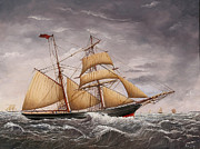 Eric Bellis Prints - A Two-masted Brigantine at Sea Print by Eric Bellis