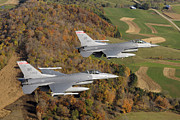 Aviator Photos - A Two-ship Formation Of F-16 Fighting by Stocktrek Images