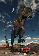 Aggressive Digital Art - A Tyrannosaurus Rex About To Crush by Mark Stevenson