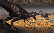 Aggressive Digital Art - A Tyrannosaurus Rex Spots Two Passing by Mark Stevenson