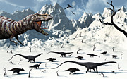 Snow-covered Landscape Digital Art Prints - A  Tyrannosaurus Rex Stalks A Mixed Print by Mark Stevenson