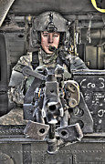 Iraq Art - A Uh-60 Black Hawk Door Gunner Manning by Terry Moore