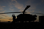 Night Hawk Prints - A Uh-60 Black Hawk Helicopter Print by Terry Moore
