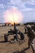 Afghanistan Photo Posters - A U.s. Marine Corps Gunner Fires Poster by Stocktrek Images