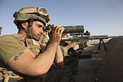 Ledge Photos - A U.s. Marine Corps Sniper And Spotter by Stocktrek Images