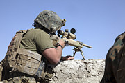 Ledge Photos - A U.s. Marine Looks Through The Scope by Stocktrek Images
