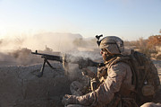 Ledge Photos - A U.s. Marine Provides Support By Fire by Stocktrek Images