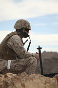 Observation Framed Prints - A U.s. Marine Uses A Field Phone Framed Print by Stocktrek Images