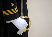 White Gloves Photo Prints - A U.s. Naval Academy Midshipman Stands Print by Stocktrek Images