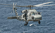 Rotor Blades Photo Prints - A Us Navy Sh-60f Seahawk Flying Print by Giovanni Colla