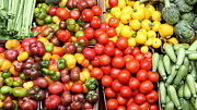 Fruit Stand Photos - A Variety of Fresh Tomatoes Artichokes and Celeries - 5D17901-long by Wingsdomain Art and Photography