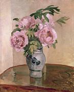 Impressionist Vase Floral Paintings - A Vase of Peonies by Camille Pissarro