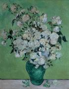 Vase  Metal Prints - A Vase of Roses Metal Print by Vincent van Gogh