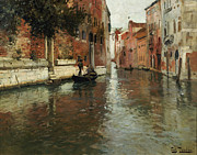 Gondolier Painting Prints - A Venetian Backwater  Print by Fritz Thaulow