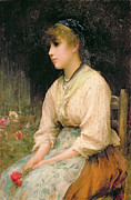 Contemplative Painting Prints - A Venetian Flower Girl Print by Sir Samuel Luke Fildes