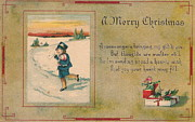 Parchment Prints - A Very Merry Christmas Print by Angela Wright