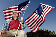 Patriots Prints - A Veteran Shows His Patriotism Print by Stocktrek Images