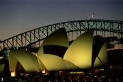 Opera House Framed Prints - A View At Night Of The Famed Sydney Framed Print by Medford Taylor