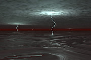 Lightning Bolts Posters - A View Below The Gas Clouds Of Jupiters Poster by Walter Myers