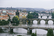 Charles Bridge Prints - A view down the Vltava Print by Taylor S. Kennedy