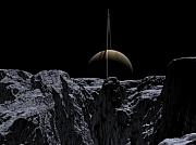 Enceladus Digital Art - A view from Rhea by David Robinson