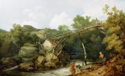Old Bridge Posters - A View near Matlock Poster by Philip James Loutherbourg