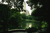 Central Park; Park; New York; Manhattan; Outdoors; Celebration; Summer; Summertime; Seasons; Independence Day; 4th July; Children; Lanterns; Decorations; Festive; Crowd; Crowds; Sketch; Atmospheric Prints - A View Of A Pond And Lush Foliage Print by Melissa Farlow