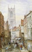 Streetscene Paintings - A View of Irongate by Louise J Rayner