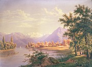 People Walking Prints - A View of Scherzingen on the Lake of Thun Print by Jakob Suter