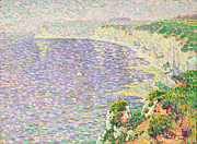 Pointillist Framed Prints - A View of the Cliffs of Etretat Framed Print by Claude Emile Schuffenecker