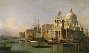 Buildings Prints - A view of the Dogana and Santa Maria della Salute Print by Antonio Canaletto