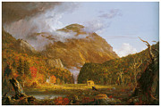 Mountains Painting Posters - A View of the Mountain Pass Called the Notch of the White Mountains Poster by Thomas Cole