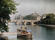 Walkways Posters - A View Of The River And A Bridge Poster by Gervais Courtellemont