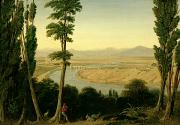 Italian Landscape Painting Prints - A View of the Tiber and the Roman Campagna from Monte Mario Print by William Linton