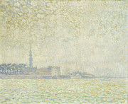 Foggy Morning Posters - A View of Veere Poster by Theo van Rysselberghe