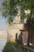 Italian Landscapes Painting Framed Prints - A View of Venice from a Terrace Framed Print by Henry Woods