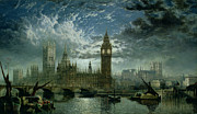 Victorian Buildings Paintings - A View of Westminster Abbey and the Houses of Parliament by John MacVicar Anderson