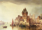 Fairytale Painting Prints - A View on the River Dordrecht Print by Ludwig Hermann