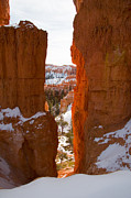 Southwest Us Framed Prints - A View Through A Narrow Canyon Wall Framed Print by Taylor S. Kennedy