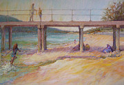 Seagull Pastels Posters - A View Through-Dromana 2011 Poster by Pamela Pretty