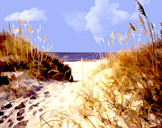 Cambria Paintings - A View Through the Dunes to the Ocean by Elaine Plesser